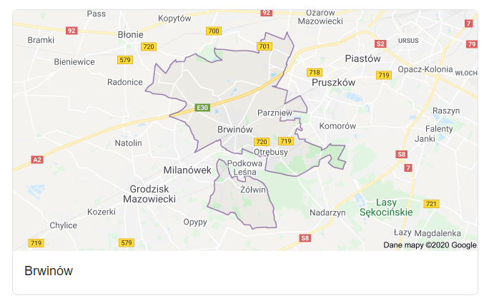 Mapa okolic gminy Brwinów - terenu działań komornika Arona Czubkowskiego