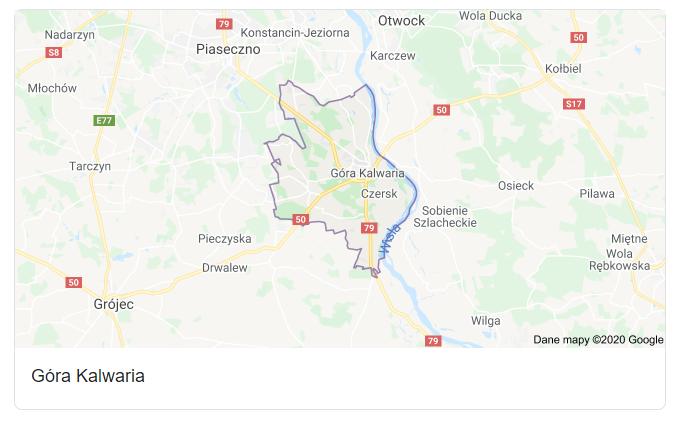 Mapa okolic gminy Góra Kalwaria - terenu działań komornika Arona Czubkowskiego