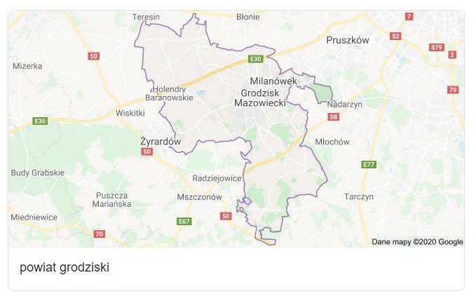 Mapa okolic gminy Grodzisk Mazowiecki - terenu działań komornika Arona Czubkowskiego