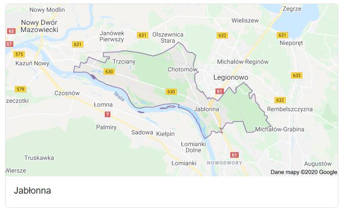 Mapa okolic gminy Jabłonna - terenu działań komornika Arona Czubkowskiego