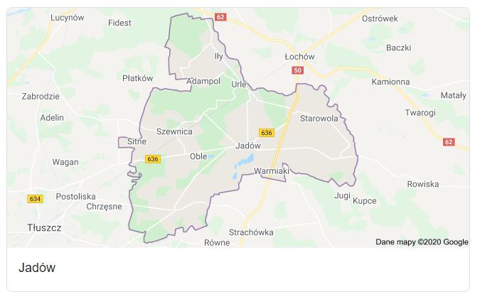 Mapa okolic gminy Jadów - terenu działań komornika Arona Czubkowskiego