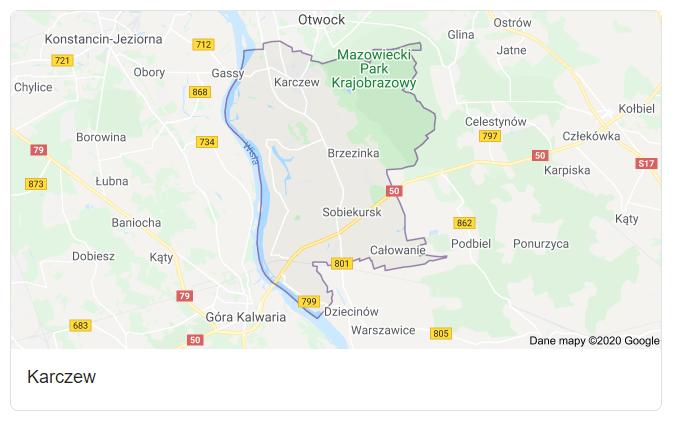 Mapa okolic gminy Karczew - terenu działań komornika Arona Czubkowskiego