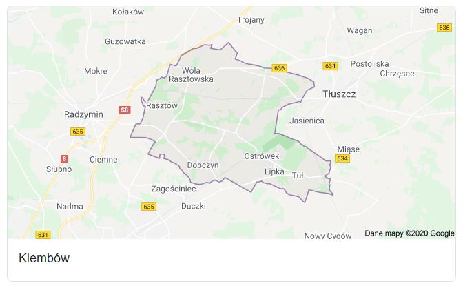 Mapa okolic gminy Klembów - terenu działań komornika Arona Czubkowskiego