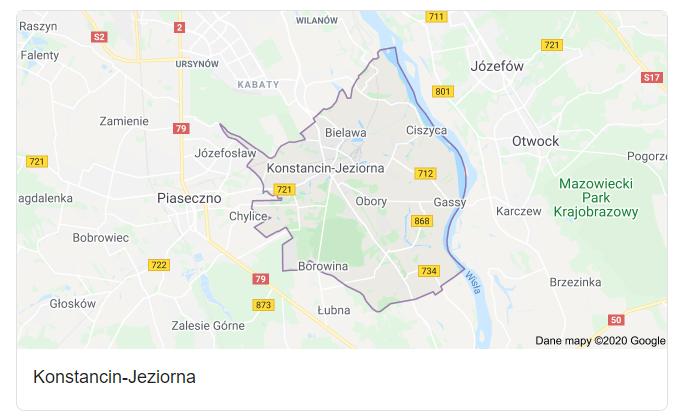 Mapa okolic gminy Konstancin-Jeziorna - terenu działań komornika Arona Czubkowskiego
