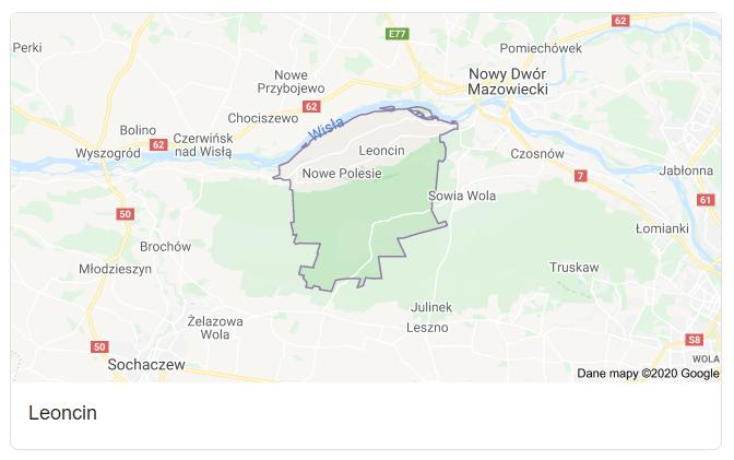 Mapa okolic gminy Leoncin - terenu działań komornika Arona Czubkowskiego