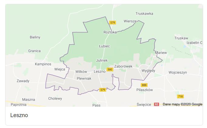Mapa okolic gminy Leszno - terenu działań komornika Arona Czubkowskiego