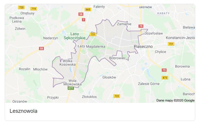 Mapa okolic gminy Lesznowola - terenu działań komornika Arona Czubkowskiego
