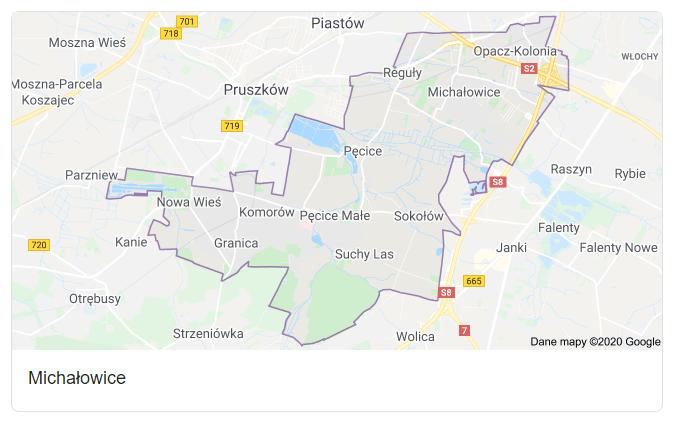 Mapa okolic gminy Michałowice - terenu działań komornika Arona Czubkowskiego