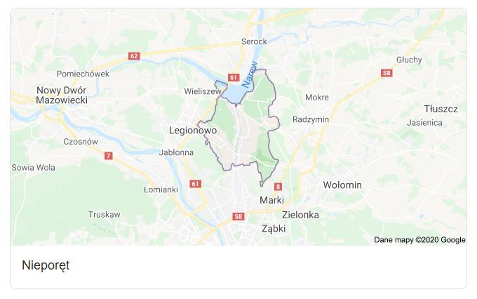 Mapa okolic gminy Nieporęt - terenu działań komornika Arona Czubkowskiego