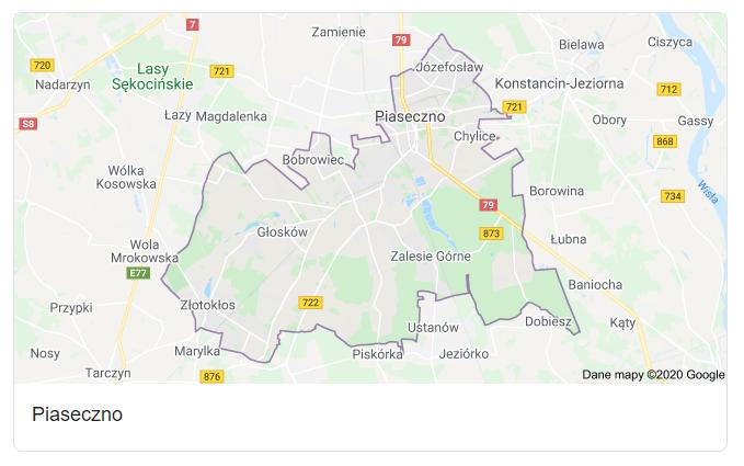 Mapa okolic gminy Piaseczno - terenu działań komornika Arona Czubkowskiego