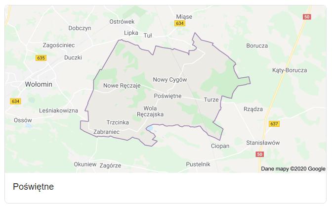 Mapa okolic gminy Poświętne - terenu działań komornika Arona Czubkowskiego