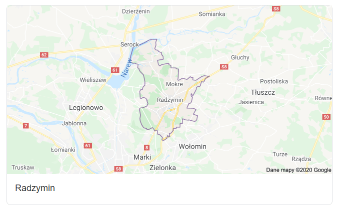 Mapa okolic gminy Radzymin - terenu działań komornika Arona Czubkowskiego