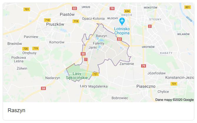 Mapa okolic gminy Raszyn - terenu działań komornika Arona Czubkowskiego