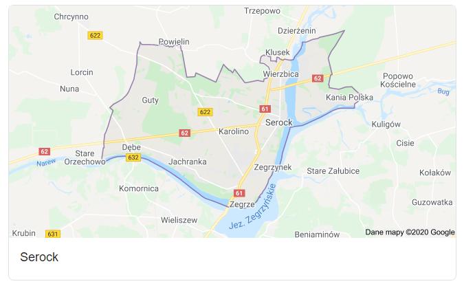 Mapa okolic gminy Serock - terenu działań komornika Arona Czubkowskiego