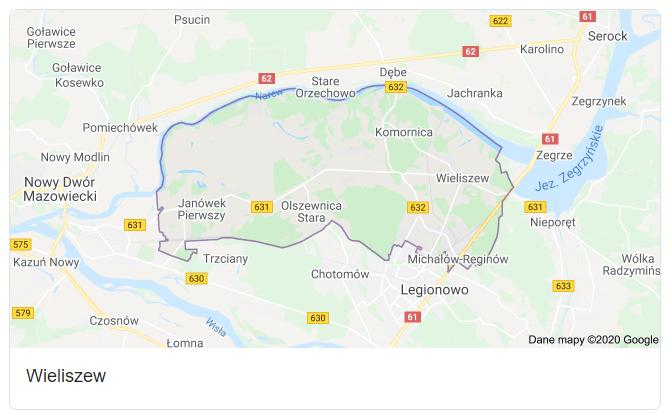 Mapa okolic gminy Wieliszew - terenu działań komornika Arona Czubkowskiego