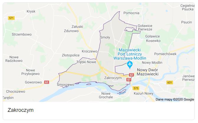 Mapa okolic gminy Zakroczym - terenu działań komornika Arona Czubkowskiego