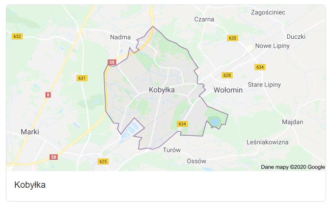 Mapa okolic miasta Podkowa Leśna - terenu działań komornika Arona Czubkowskiego