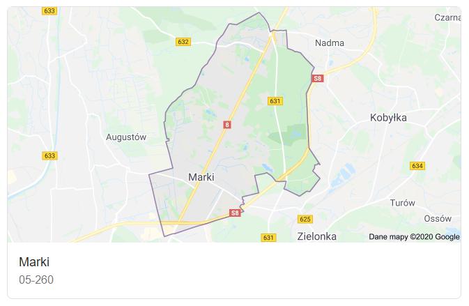 Mapa okolic miasta Marki - terenu działań komornika Arona Czubkowskiego