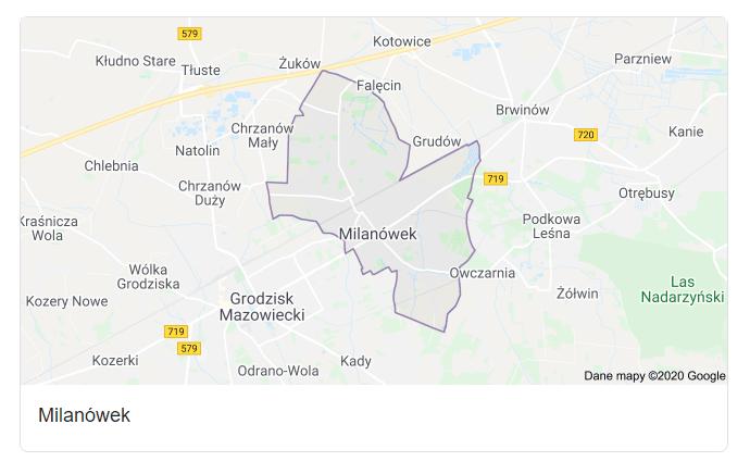 Mapa okolic miasta Milanówek - terenu działań komornika Arona Czubkowskiego