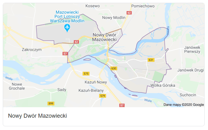Mapa okolic miasta Nowy Dwór Mazowiecki - terenu działań komornika Arona Czubkowskiego
