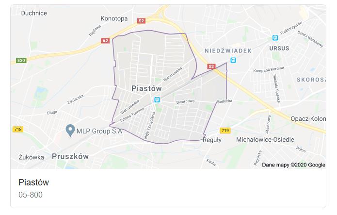 Mapa okolic miasta Piastów - terenu działań komornika Arona Czubkowskiego