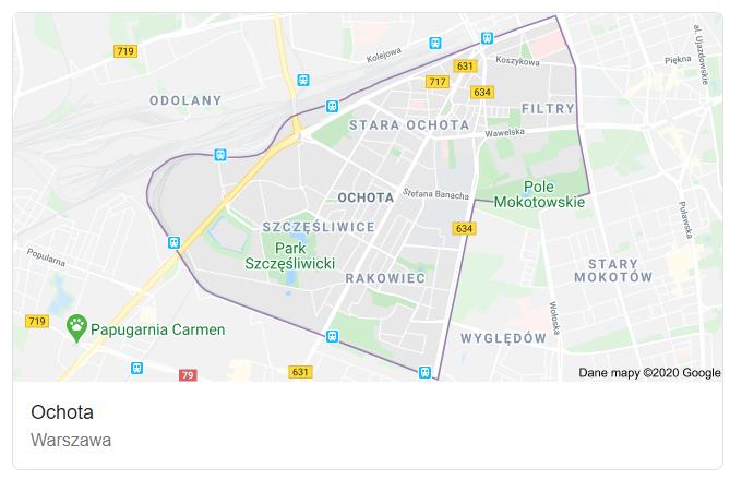 Mapa ulic dzielnicy Warszawa Ochota - terenu działań komornika Arona Czubkowskiego