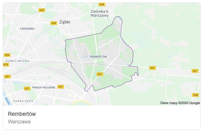 Mapa ulic dzielnicy Warszawa Rembertów - terenu działań komornika Arona Czubkowskiego