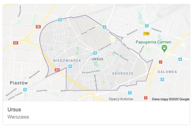 Mapa ulic dzielnicy Warszawa Ursus - terenu działań komornika Arona Czubkowskiego