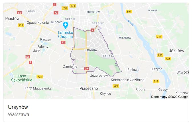 Mapa ulic dzielnicy Warszawa Ursynów - terenu działań komornika Arona Czubkowskiego