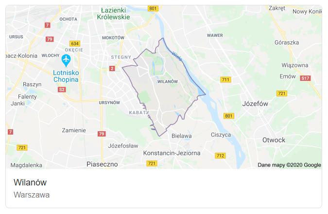 Mapa ulic dzielnicy Warszawa Wilanów - terenu działań komornika Arona Czubkowskiego