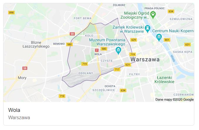 Mapa ulic dzielnicy Warszawa Wola - terenu działań komornika Arona Czubkowskiego