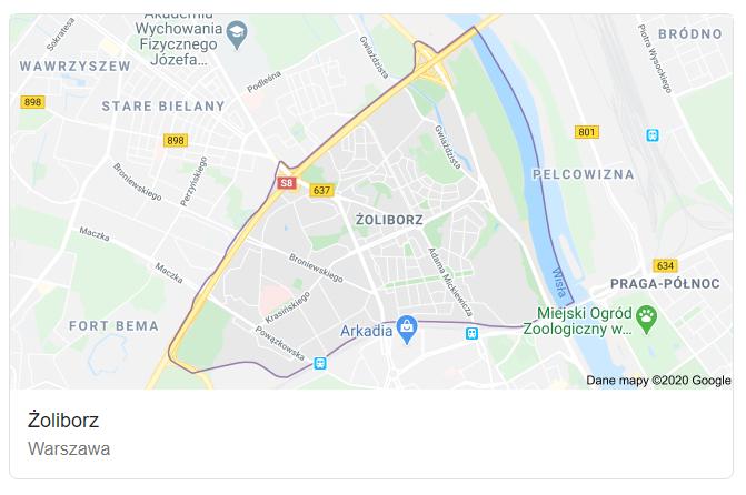 Mapa ulic dzielnicy Warszawa Żoliborz - terenu działań komornika Arona Czubkowskiego