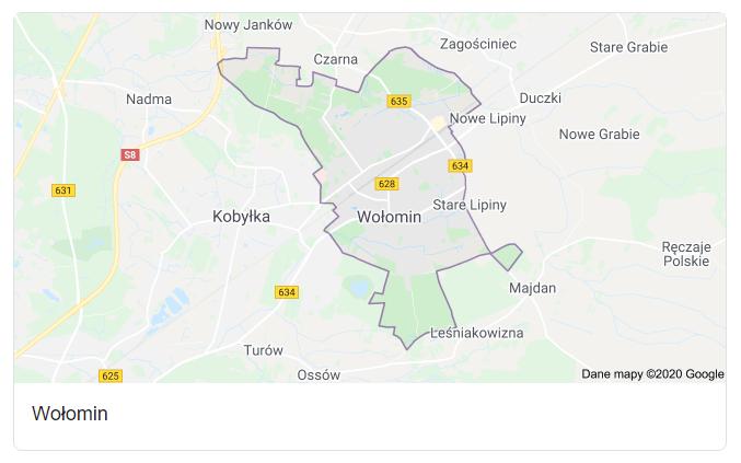 Mapa okolic miasta Wołomin - terenu działań komornika Arona Czubkowskiego