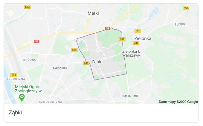 Mapa okolic miasta Ząbki - terenu działań komornika Arona Czubkowskiego