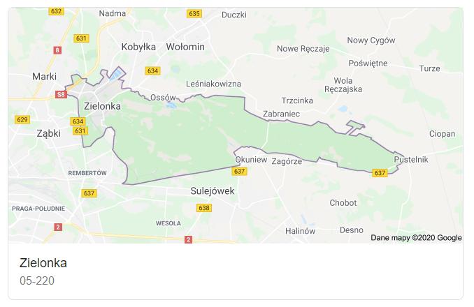 Mapa okolic miasta Zielonka - terenu działań komornika Arona Czubkowskiego